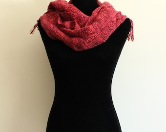 Electric Raw Silk Handmade Textured Scarf Pink with Red Highlights; Vietnam Made