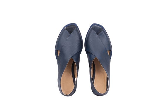 handmade adikilav heel slingbacks Leather sandals sandals with chunky shipping free blue Navy wide womens WwvTpcqP