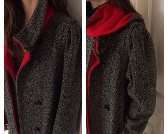 1960s Worumbo Coat in Charcoal Gray with Red Lining and Wrap Scarf