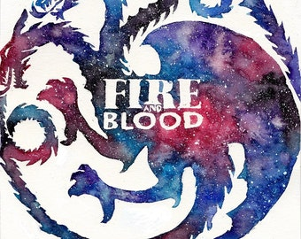 Game of Thrones - Fire and Blood - Daenerys Targaryen - Dragon Watercolor Print