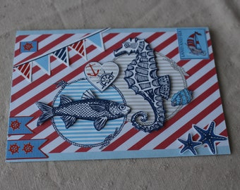 Maritime map with seahorse and fish