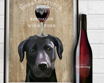 Black lab art - Dog Au Vin - Black Labrador gifts black lab print wine picture kitchen wall decor Living room decor labrador art friend gift