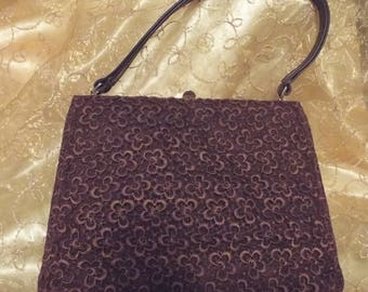 Vintage Bective brown lace overlay 1950s/1960s handbag