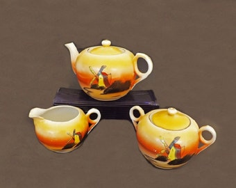 1940s Antique Tea Set with Windmill, T T Takita Lusterware, Made in Japan, Japanese Tea Set, Japanese Disihes, Dining Room or Kitchen Decor