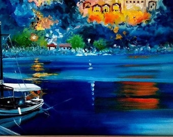 Dalyan Turkey  Lycian Rock Tombs Limited Edition A3 Print Of Original Oil Painting Dalyan River Boat