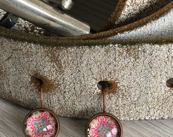 Aztec Earrings Bronze colour glass cabochon