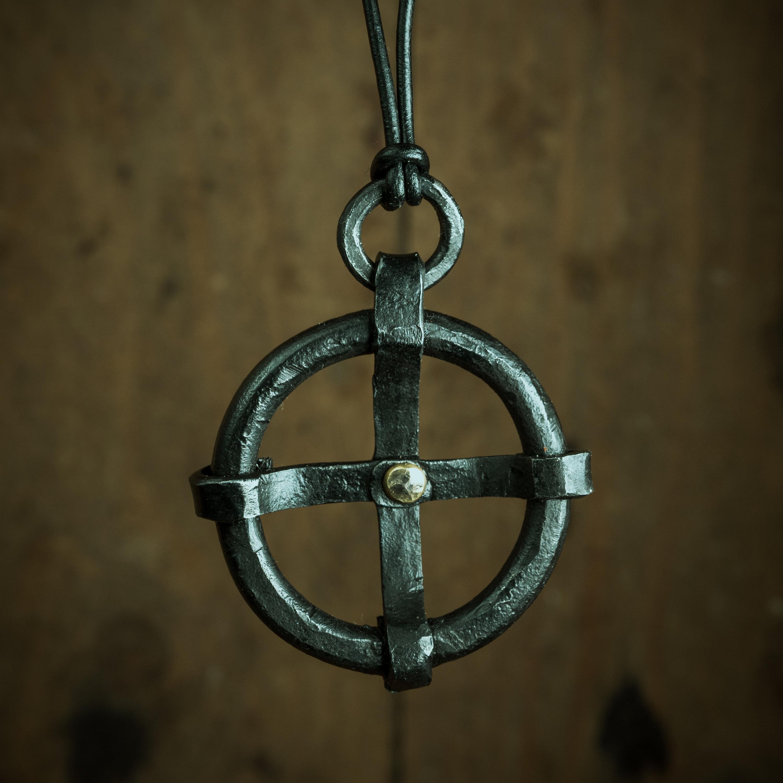 Iron sun cross pendant viking necklace pagan symbol jewelry zoom aloadofball Choice Image