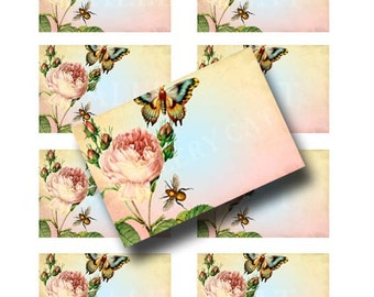 Blank Rose Label Digital Collage Sheet Instant Download Paper Crafts Original Whimsical Altered Art by GalleryCat CS76
