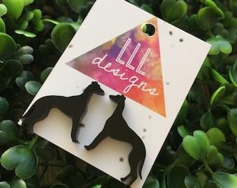 Super Cute Laser Cut Greyhound Earrings - Studs. I love Greyhounds. Greyhounds Rock. I love my Greyhound. Quirky Earrings. Fun Earrings.