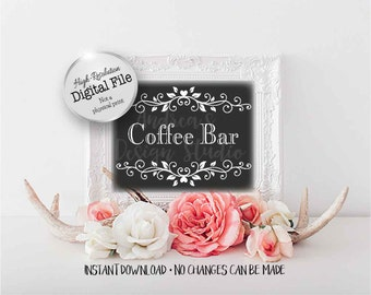 Coffee Bar Sign, Black and White, Wedding Singage, Wedding Printables, Party Printables, 5x7 & 8x10 Digital Files, Instant Download