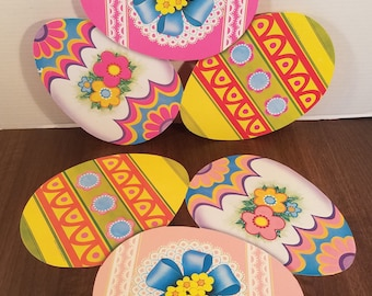 Vintage Easter Die Cuts // Set of 2 // Beistle Company // Spring Decor // Easter Eggs // Holiday Banner // Retro Easter Decor