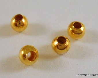 225 Gold Spacer Beads 3mm Plated Round Iron Bead 1mm hole - 225 pc - M7013-G225