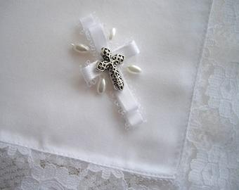 Religious Handkerchief Cross Wedding Confirmation Communion Christening Religious Keepsake Handkerchief Handmade Lace Pearls by handcraftusa