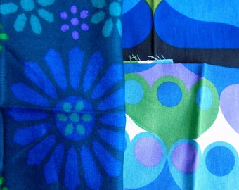 Vintage fabric offcut pack in shades of blue, purple and green