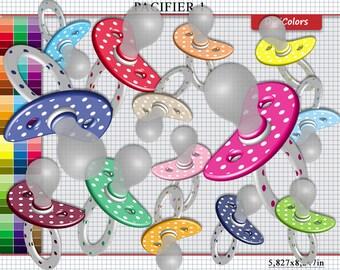 """Clip Art """"Pacifier 1"""" - 3d Scrapbooking Clip Art """"Pacifier 1"""" - 90 Colors - B00001"""