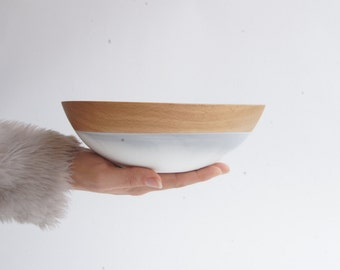"""8"""" Beech Wood Bowl, white and grey swirl by Wind and Willow Home, best friend gift, wedding gift, wooden bowl, wedding gift, foodie gift"""