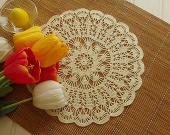 Cream crochet doily Large crochet doilies Handmade cotton lace doily Crocheted doilies Large lace doily  384
