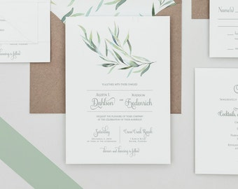 Rustic Greenery Wedding Invitations Set ,Eucalyptus Greenery Invitations, Greenery Winter Wedding Invites,eucalyptus Greenery Spring Wedding