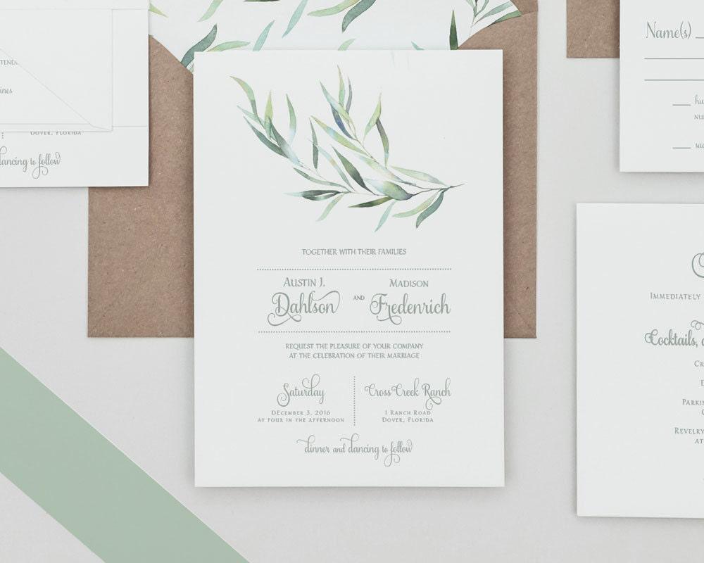 Rustic Greenery Wedding Invitations Set Eucalyptus Greenery