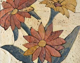 Trio Florwers Stone Mosaic