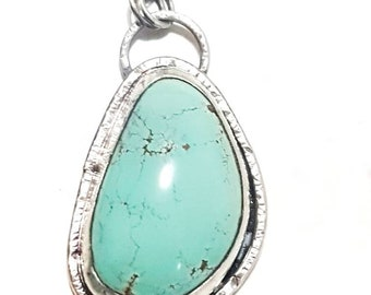 Handmade Statement Sterling 925 Silver Turquoise Necklace Pendant