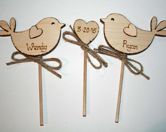 Personalised Wedding Cake Topper Personalised Bird Cake Topper  Rustic Cake Topper  Wooden Cake Topper
