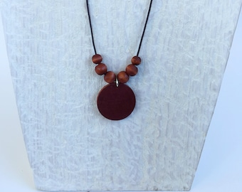 Rich Mahogany Color Pendant Necklace - Fall Color - Cord Necklace - Wood Necklace - Beaded Necklace- Bohemian Necklaces - Best Holiday Gifts