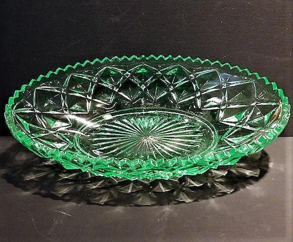 Green Vaseline Depression Glass Celery / Relish / Imperial / Diamond / Block
