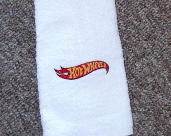 Embroidered ~HOT WHEELS~ Kitchen Bath Hand Towel