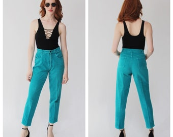 Vtg. Teal Corduroy High Waist Pants- Chords, 28, 6