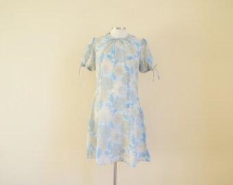 Vintage Baby Blue Floral Dress