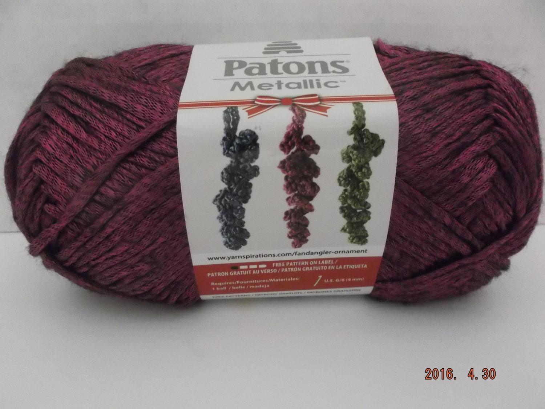 Patons Metallic Yarn ~ Fuchsia ~ 60 Grams ~ 168 Yards ~ #4 Medium ...