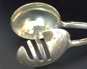 Silverplate E P Zinc Italy Silver Plated Salad Serving Tongs