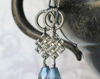 Celtic Knot Blue Stone Earrings, Scottish Jewelry, Irish Jewelry