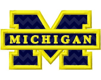 Michigan M 2 Applique Machine Embroidery Design Morehead 4x4 5x7 INSTANT DOWNLOAD
