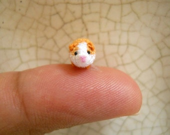Micro Mini Guinea Pig Amigurumi - Tiny Crochet Dollhouse Miniature Animal - Made To Order