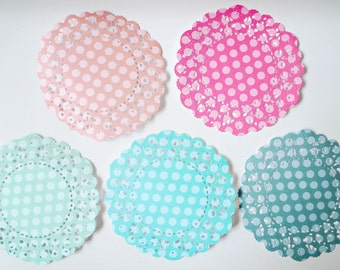 Parisian Lace Doily Peach, Coral, Aqua, Turquoise And Ocean Tides for Scrap booking or card making / pack