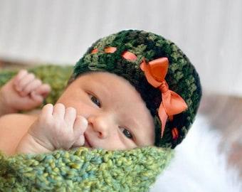 BABY GIRL CAMO Hat Baby Camo Hat, Crochet Camo Hat, Camouflage Baby Girl, Crochet Camo Baby Camouflage Gifts, Knit Camo Hat, Knit Camo Baby