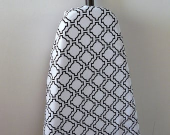 Ironing Board Cover - classic black with white geometric shapes
