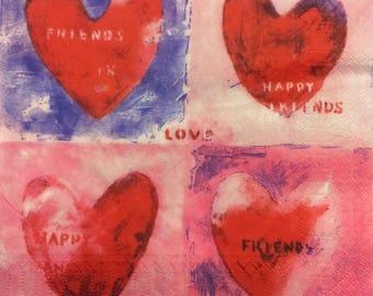 "Hearts paper towel ""Happy friends, love"""