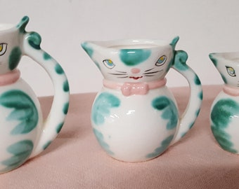 """Vintage 1950's Set of 3 Lipper & Mann Cat Pitchers/Creamers 4 1/4"""", 3 1/2"""" and 2 3/4"""""""
