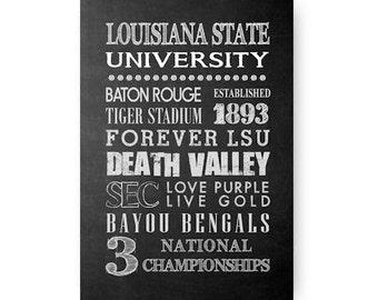 Louisiana State University Tigers Chalkboard Digital Download