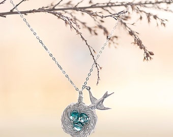 Mom Jewelry - Sterling Silver Birds Nest Necklace with 3 Birthstone Crystal Eggs - Wire Wrapped Handmade Jewelry | Personalized Necklace
