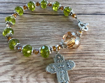Rosary Bracelet 4 way Cross Grace Charm
