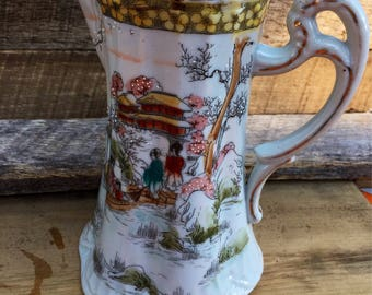Vintage Teapot Made in Japan, Hand Painted Teapot, Vintage Vase Repurpose