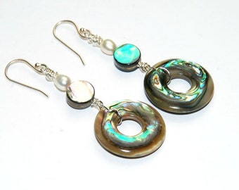 Abalone Earrings - natural Shell Jewelry - Beach Jewelry - Circle Earrings
