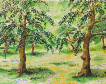 Orchard Painting Trees Spring Green Original Art Canvas 12 x 9 inch