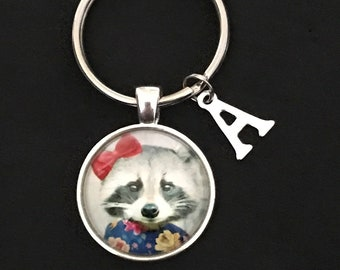 Personalized Racoon Keychain Racoon Gift