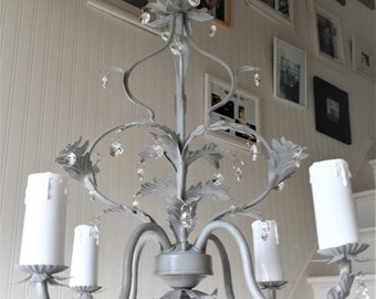 Chandelier lighting vintage crystal ceiling fixture, pendant lights, shabby chic, farmhouse upcycled Annie Sloan Paris Grey, home lighting