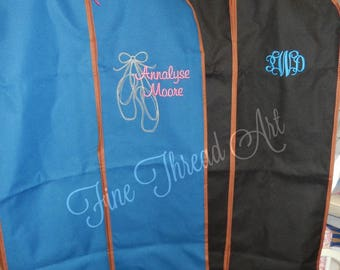 Suit or Garment Bag with Cognac Faux Leather Trim Dancing Costumes Travel Cruise with Monogram or Name Plus Ballet Design Tutu Dancer Pointe